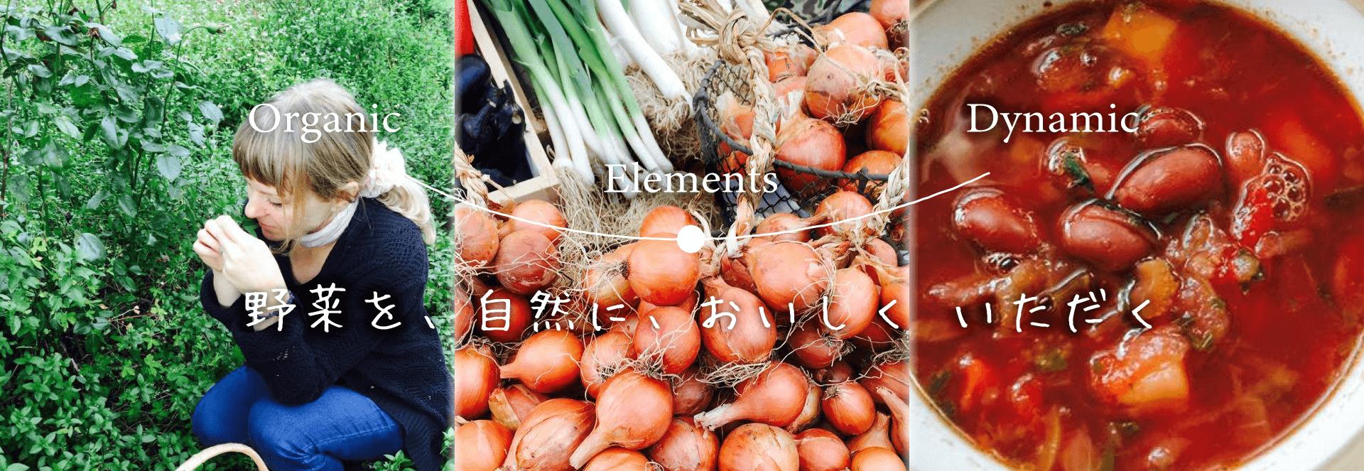 ダイナミック オーガニック エレメント 野菜を、自然に、おいしく いただく